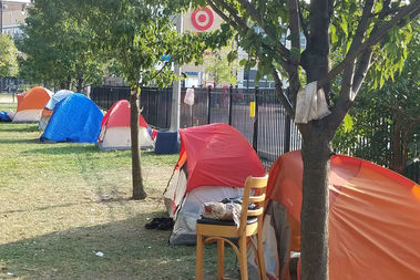 The Stewart School homeless encampment.