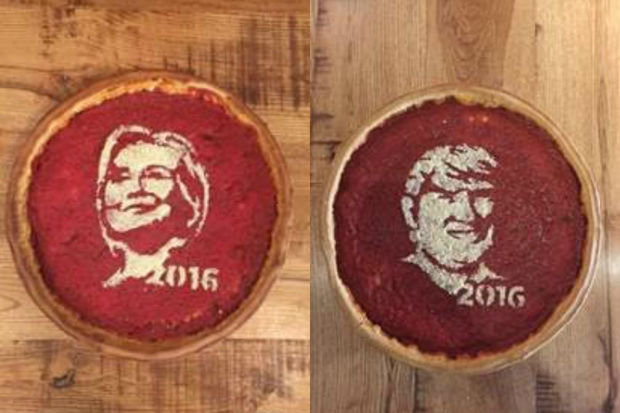 The limited-time menu features artwork of Hillary Clinton and Donald Trump on top of a deep dish pizza.