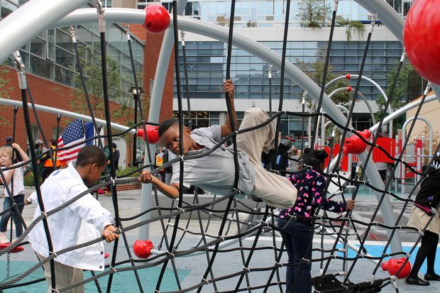 The Gertrude Ederle Playground opened Tuesday, a little more than three years after the adjacentrenovated rec center opened.