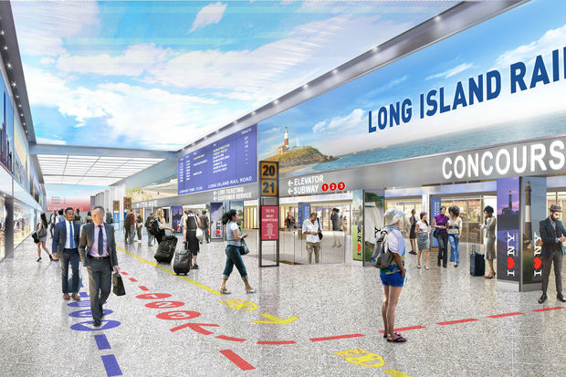 The 18 foot ceilings of the new Penn Station will be lined with LED lights painted to look like a blue sky with clouds to end the feeling of claustrophobia in the dank, outdated and