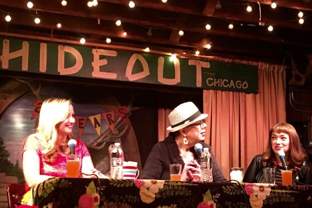 Lewis kicked off the Girl Talk show hosted by DNAinfo Senior Editor Jen Sabella and Chicago teacher and union member Erika Wozniakat the Hideout Innby singing along to