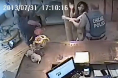 This surveillance video from a Chicago Police raid on a Chinatown spa was instrumental in the widened protections for undocumented immigrants. It shows Jessica Klyzek being arrested. She later sued and won a $150,000 settlement.