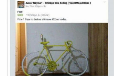 A man was trying to sell what appeared to be a ghost bike on Facebook.