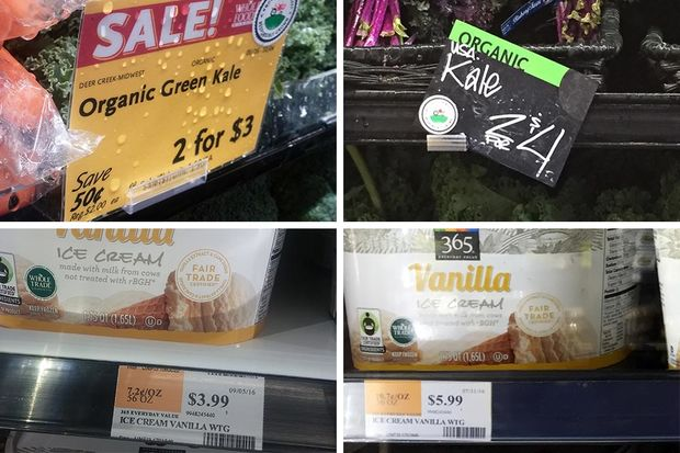 Prices for kale and vanilla ice cream are lower at the Englewood Whole Foods Market (left) than at the Lincoln Park store.