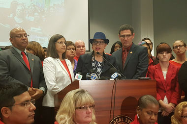 CTU President Karen Lewis (center) and Vice President Jesse Sharkey (right) discussed the vote taken by the House of Delegates.