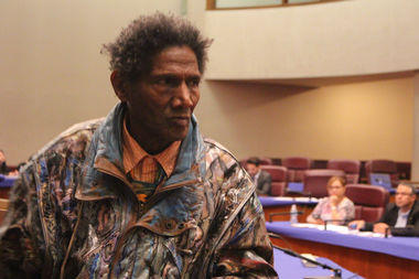 George Blakemore leaves the front table at the City Council after addressing the Rules Committee Thursday.