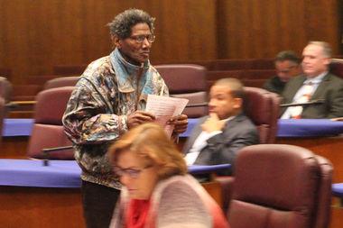 George Blakemore storms past aldermen after making a public comment.