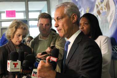 Mayor Rahm Emanuel speaking to reporters after a ceremony at Skinner North Classical School on the Near North Side.