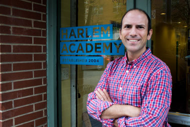 Vinny Dotoli stands outside of Harlem Academy, an independent school in Central Harlem, which he founded in 2004.