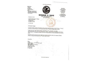 State Rep. Monique Davis submitted her resignation Dec. 23.