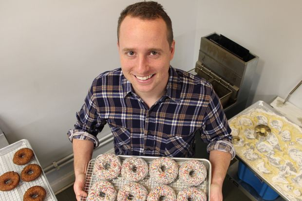 Dylan Maysick owns Front Room Donuts, which operates out of Bridgeport Coffee Co.'s Beverly location. Maysick makes cake doughnuts for all four of the coffee shop's locations and several other vendors.