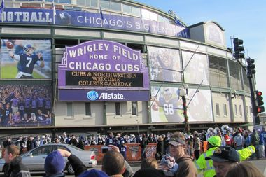 When Northwestern University played at Wrigley Field in 2010, the iconic marquee was painted purple for the team.