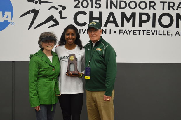 Raena Rhone with Baylor coach Clyde Hart and his wife.