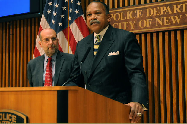 NYPD First Deputy Commissioner Benjamin Tucker and Department of Homeless Services Commissioner Steven Banks (r-l) speak about security at city-run shelters during a press conference at One Police Plaza Friday, Jan. 6, 2017.
