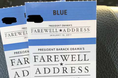 A person advertises two tickets for sale on Craigslist to President Obama's farewell speech at McCormick Place.