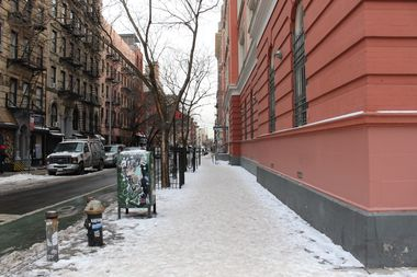 The sidewalks surrounding Rivington House were still caked with snow on Monday afternoon following Saturday's snow storm.
