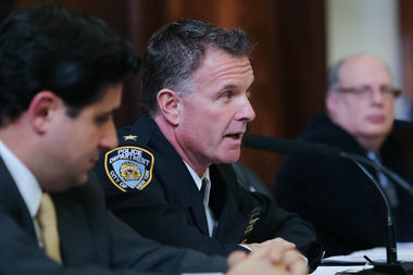 Deputy Chief James Kehoe answers questions about the cost of securing Trump Tower at a City Council hearing on Tuesday.