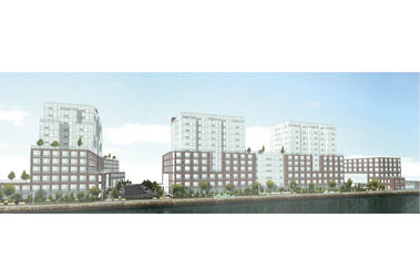 Developers plan to build three buildings with nearly 400 apartments on Rosebank's waterfront.