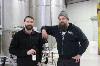 Charlie Davis (left) and his friend and fellow brewer Patrick O'Rorke, along with Davis' wife, Katie Morgan, who is not pictured, run Right Bee Cider in Hermosa.