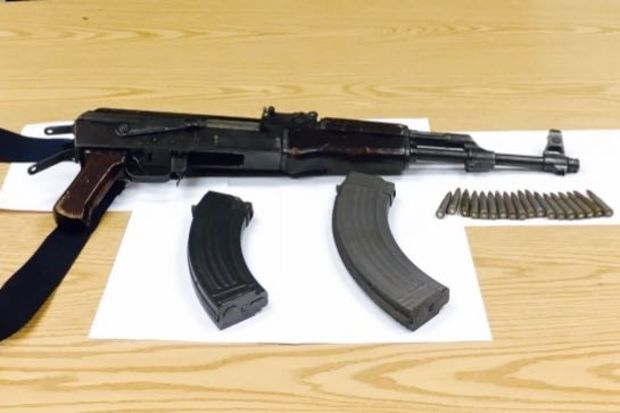Police officers found a loaded AK-47 during a traffic stop in Jamaica.