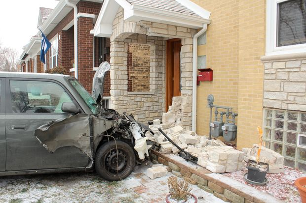 The stolen car stopped inches from a gas main outside a house in the 4900 block of West Warwick Avenue.
