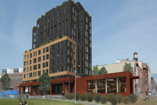 A developer wants to build an 11-story building that opens out onto Transmitter Park.
