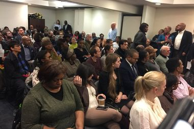 Residents packed the offices of Manhattan Community Board 10 to hear from the nine candidates in attendance.