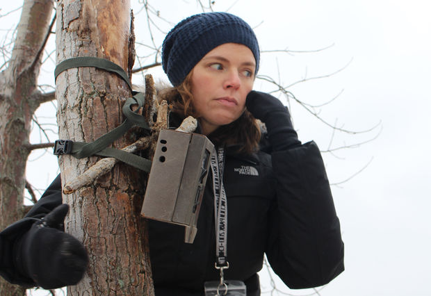 Urban wildlife ecologist Liza Lehrer sets a motion-sensing camera to capture animal activity.