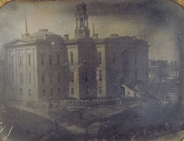 In 1855 Alexander Hesler took this daguerreotype of the Cook County Court House and City Hall. It's the oldest photo in Chicago History Museum's collection and very possibly the oldest photo in the city's history.