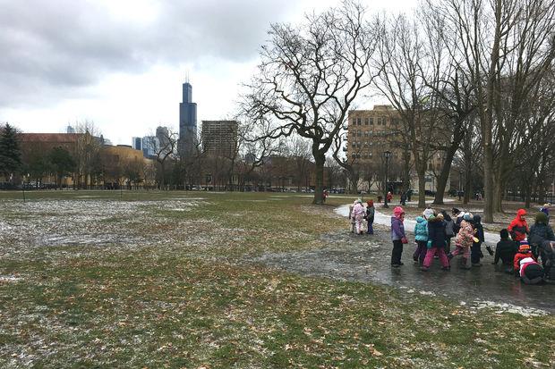 Children from Urban Prairie Waldorf School play at Arrigo Park in Little Italy last week.