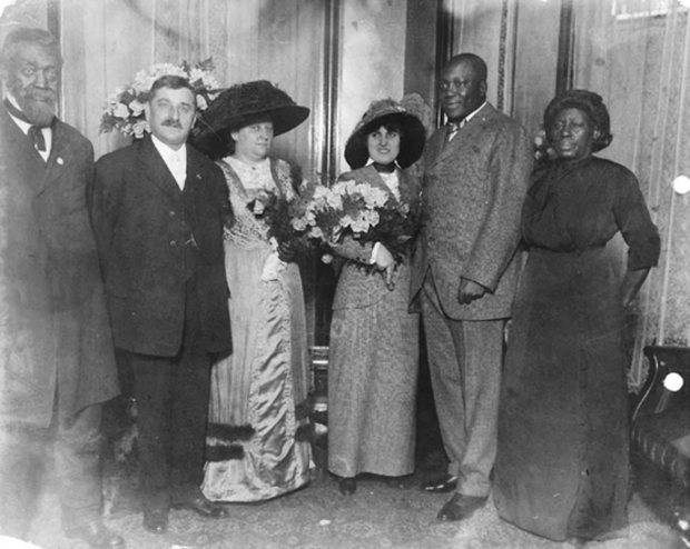 Boxer Jack Johnson is seen at his Chicago wedding to Lucille Cameron in 1912 in Chicago.