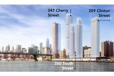 Three towers are slated to rise on the Two Bridges waterfront.