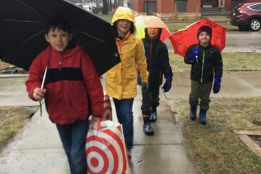 A group of about 14 students from Peirce Elementary School in Andersonville collected goods for Refugee One for Martin Luther King Day.