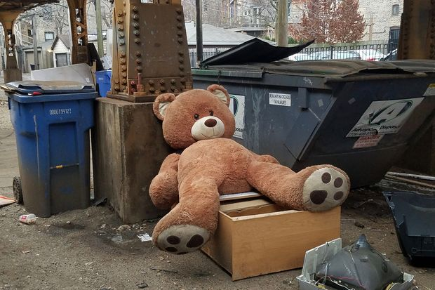 Where do teddy bears go when no longer wanted by their owners? This bear has been sitting next to a Dumpster in Wicker Park for at least four days and possibly longer.