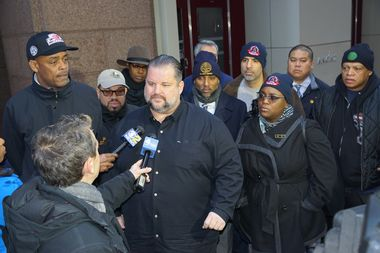 TWU Local 100 President John Samuelsen speaks to reporters about the new contract.
