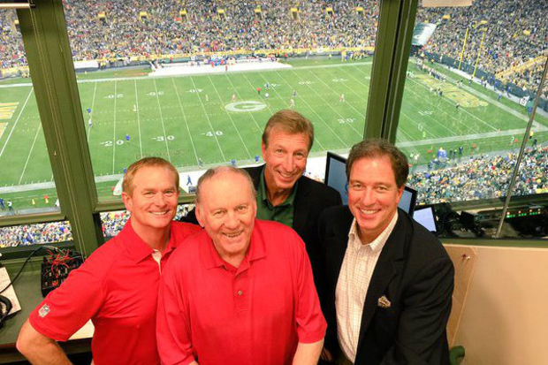 Current Packers and former Bears radio play-by-play broadcaster Wayne Larrivee (back) with Len Dawson and other Chiefs broadcasters.