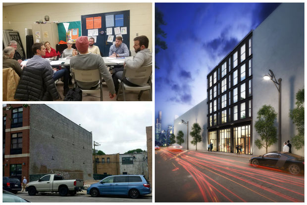 Members of the Wicker Park Committee's preservation and development committee (clockwise from top left) discuss the proposed building, a rendering of the building and the site, currently an empty lot.