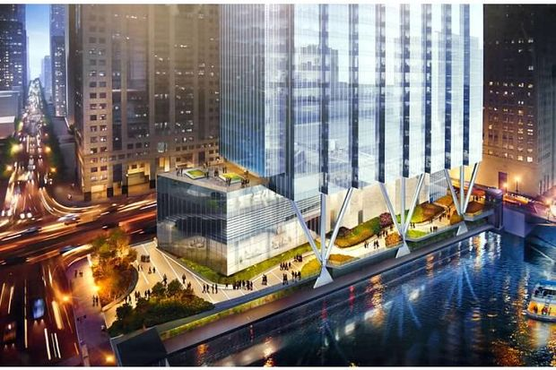 The ambitious proposal at 110 N. Wacker Drive also includes a new stretch of Riverwalk.