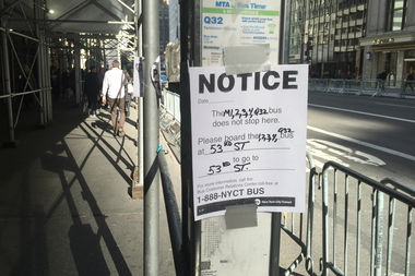 Bus service has been disrupted along Fifth Avenue since election day.