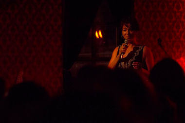 Comedian Alex Kumin performing at Chicago Underground Comedy's first benefit show at East Room.