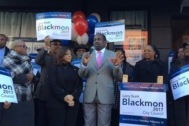 Assemblywoman Inez Dickens endorsed candidate Larry Scott Blackmon, who is running to replace Dickens, at an event on Thursday, Jan. 19