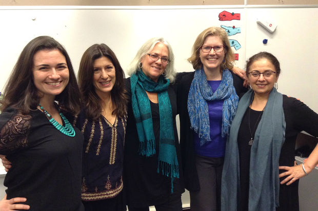 The team behind HERmonics includes, from left to right, Lindsay Fisher, Julie Galdieri, Catherine Aks, Courtney Birch, and Shazia Rafi.