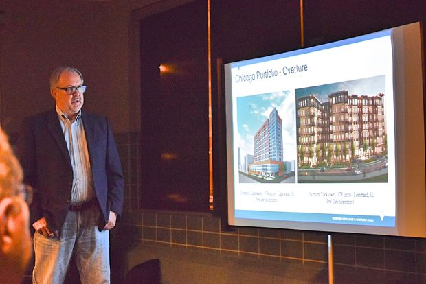 Gary Wallace of Greystar Development spoke to the community about his plans for the Overture Edgewater development at 5440 N. Sheridan Road.