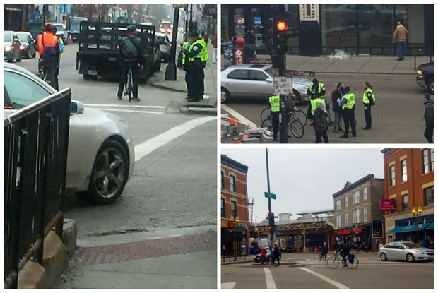 Cyclists were getting tickets in Wicker Park's main intersection early Thursday.