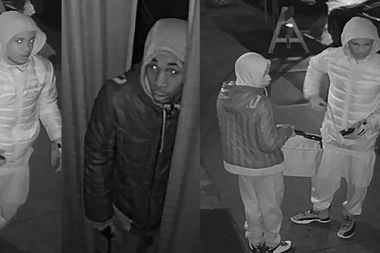 Police are searching for two men wanted for breaking into two Bedford Avenue businesses and nearby homes between Dec. 22, 2016 and Jan. 13, 2017.