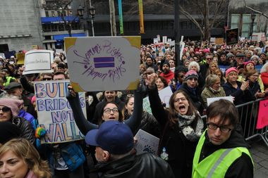 Protesters lined the streets during the NYC Women's March on Jan. 21, 2017.