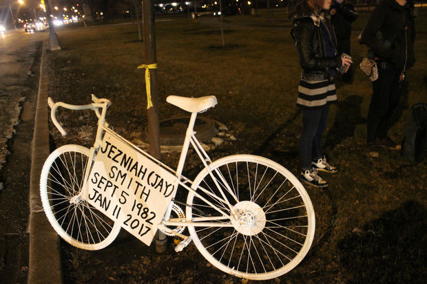 A ghost bike to memorialize Jezniah Smith, a 34-year-old who was killed while riding his bicycle in Humboldt Park in January.