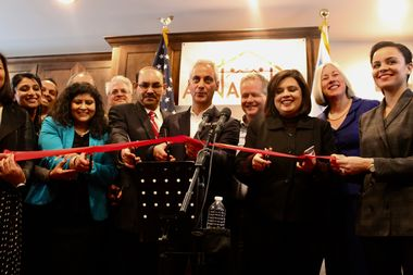 Mayor Rahm Emanuel, Ald. James Cappleman and staff at Apna Ghar cut the ribbon on its new facility in Uptown.