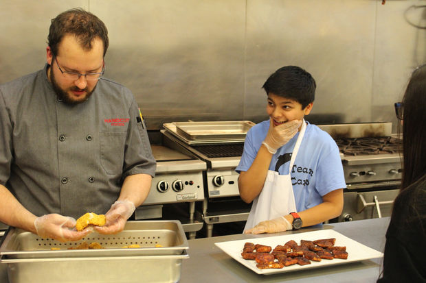 Students from Catherine Cook School tested recipes for Asian carp on a field trip.