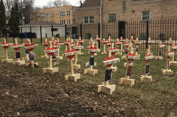 A lot in the 5500 block of South Bishop was transformed into a memorial for Chicago gunshot victims who died in January.